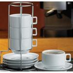 Cappuccino cup/saucer set with rack