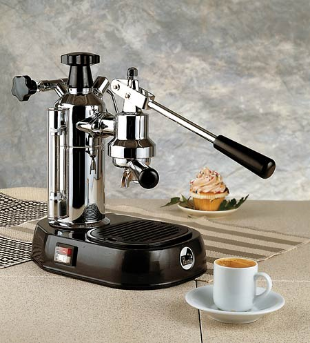 la pavoni europiccola chrome black piston operated espresso machine 8 cup electra. Black Bedroom Furniture Sets. Home Design Ideas